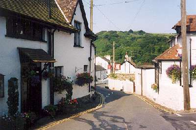Looking down the road towards the pub. Bessemer to the left.